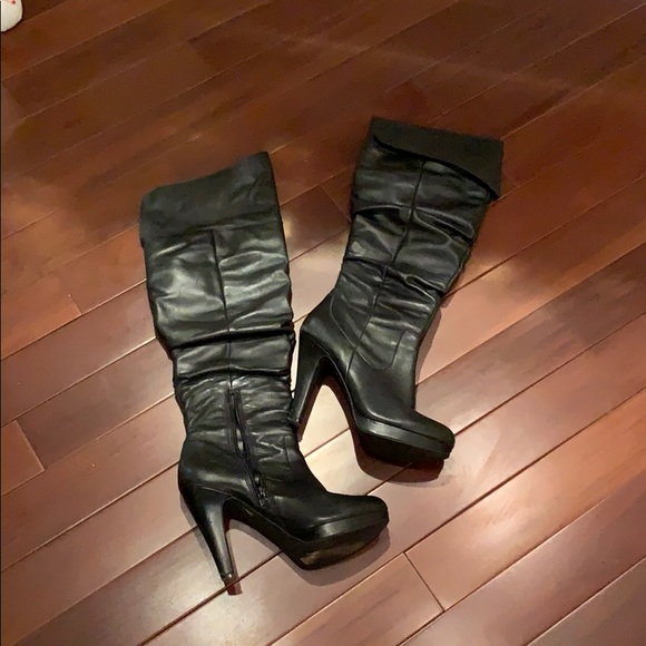 7.5 7 Guess Boots Daina Black Leather Over knee Boots Size 6